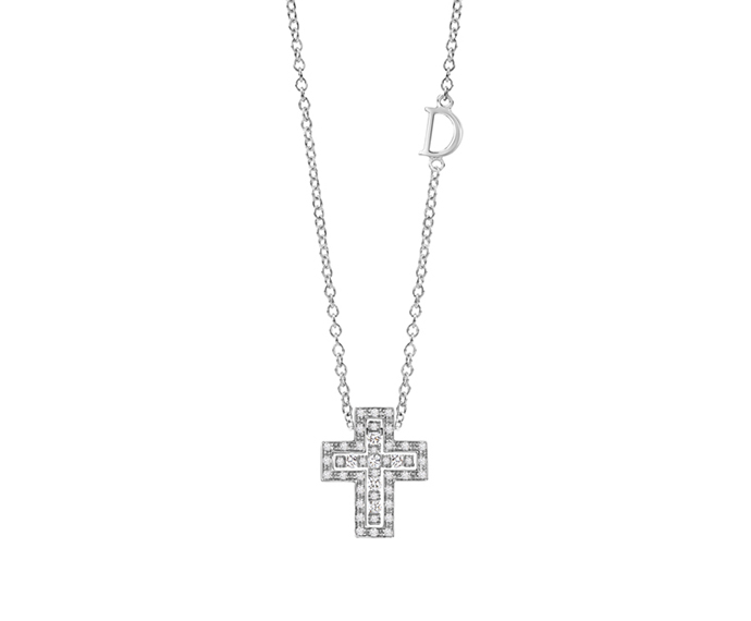 DAMIANI - White gold and diamonds necklace. Cross size: Length 14mm. Width 12mm.