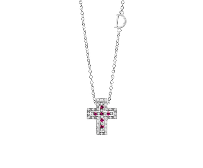 DAMIANI - White gold, diamonds and rubies necklace. Cross size: Length 14mm. Width 12mm.