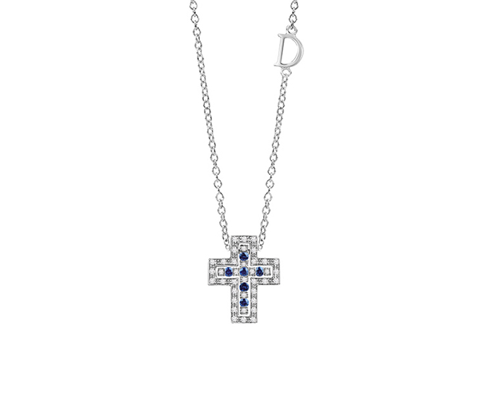 Damiani - White gold, diamonds and sapphires necklace. Cross size: Length 14mm. Width 12mm.