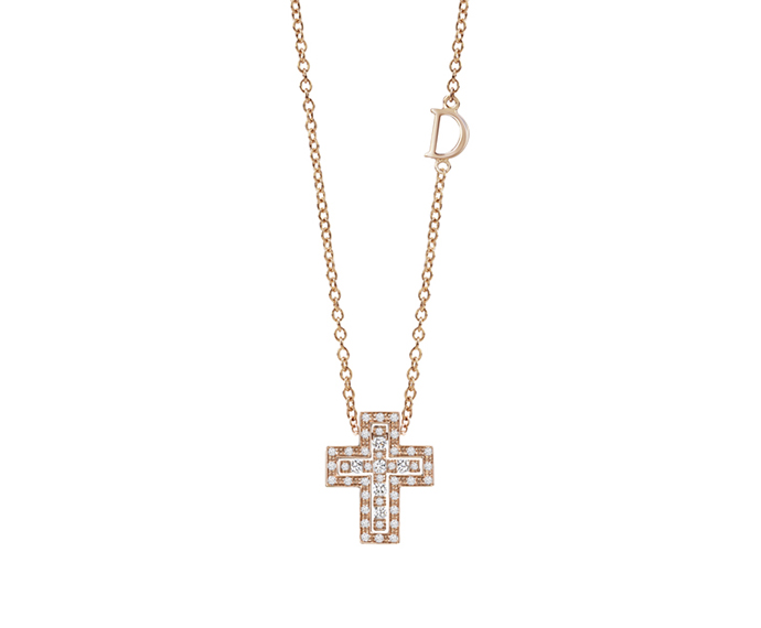 DAMIANI - Pink gold and diamonds cross necklace