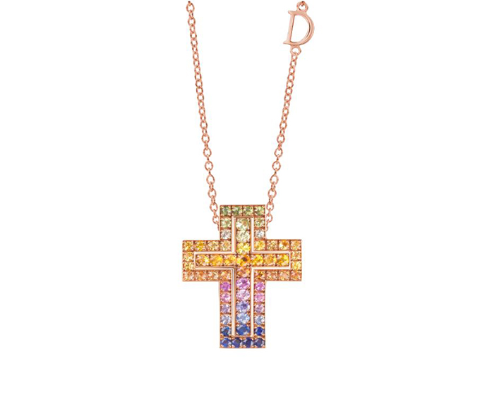 DAMIANI - Pink gold and multicolored sapphires necklace. Cross size: Length 26mm. Width 20mm.