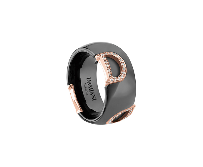 DAMIANI - Black ceramic, pink gold and diamonds ring