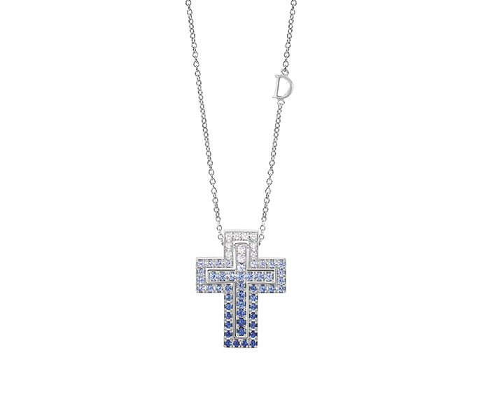 DAMIANI - White gold, diamonds and sapphires necklace. Cross size: Length 26mm. Width 20mm.