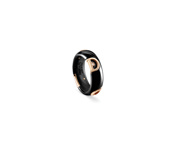 Damiani - Black ceramic, pink gold and diamond ring