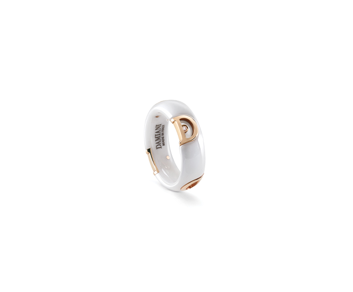 DAMIANI - White ceramic, pink gold and diamond ring