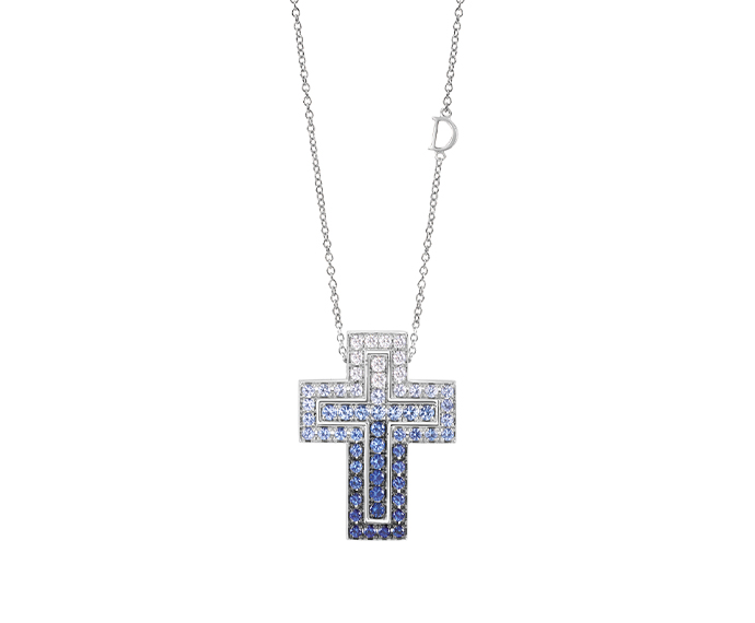 DAMIANI - White gold, diamonds and sapphires necklace. Cross size: Length 33mm. Width 25mm.