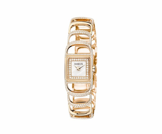Damiani - Pink gold semi setting watch