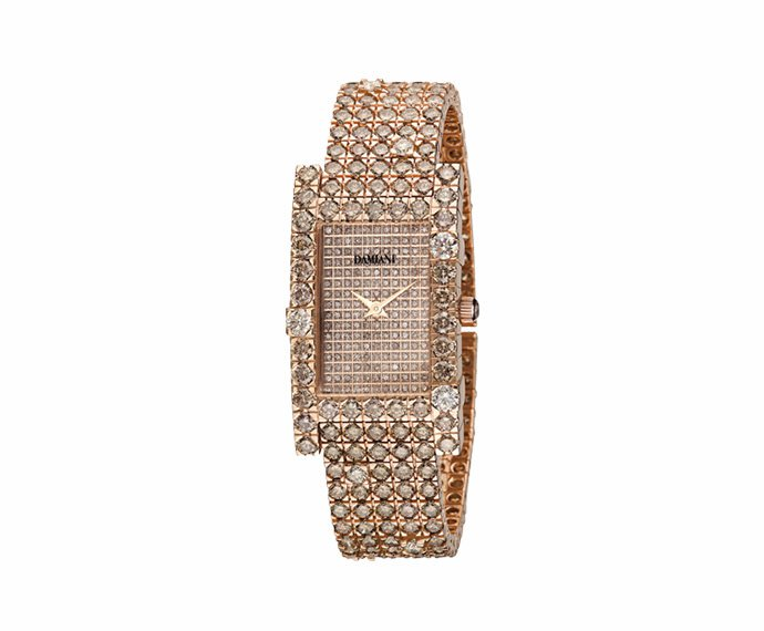 DAMIANI - Orologio full pavé in oro rosa con diamanti brown
