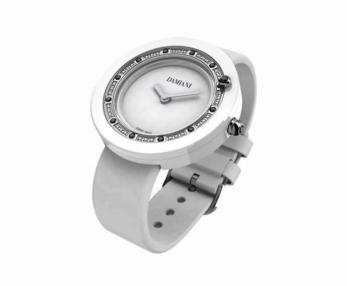 Damiani - White ceramic and diamonds watch