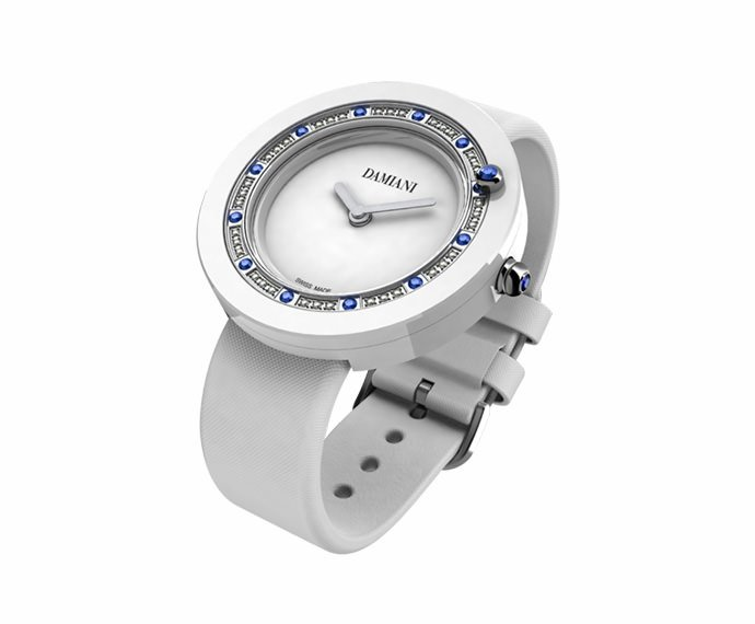 DAMIANI - White ceramic and sapphires watch