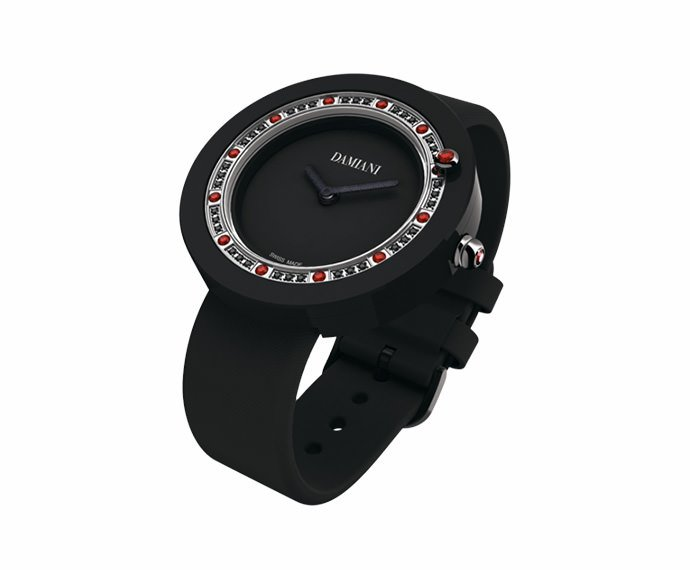 DAMIANI - Black ceramic and rubies watch