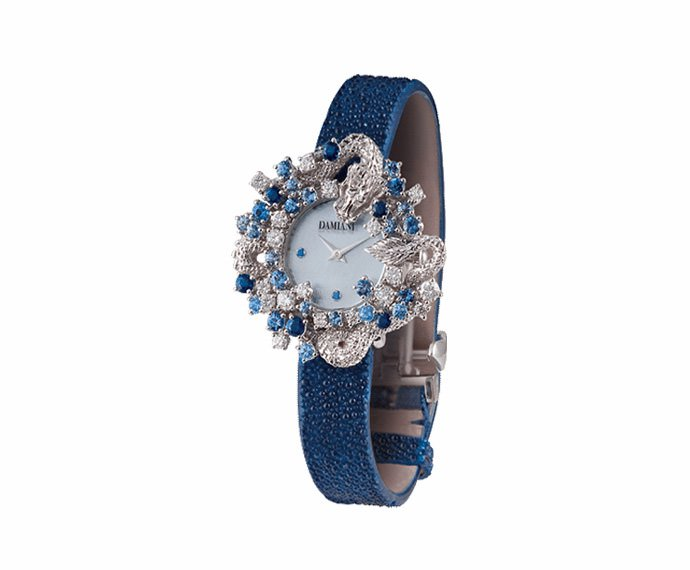 Damiani - Mimosa drago in white gold with diamonds and sapphires