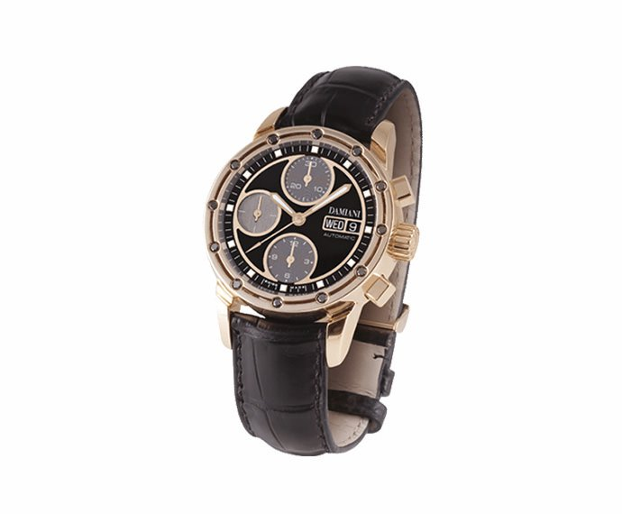 DAMIANI - Pink gold with black diamonds chronograph