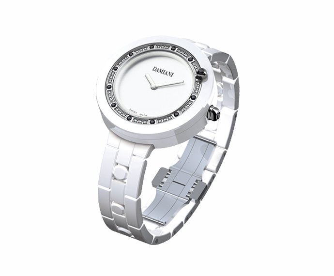 DAMIANI - White ceramic with white and black diamonds watch
