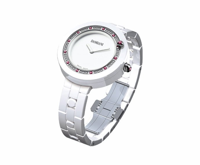 DAMIANI - White ceramic with diamonds and rubies watch