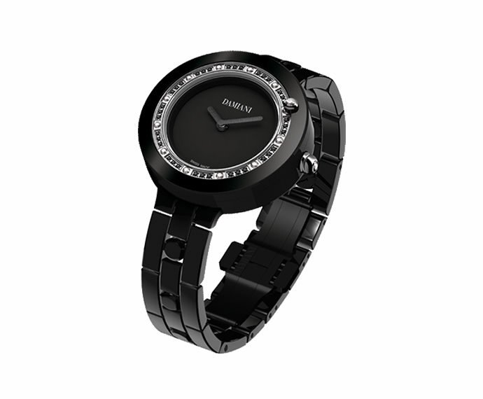 Damiani - Black ceramic with white and black diamonds watch