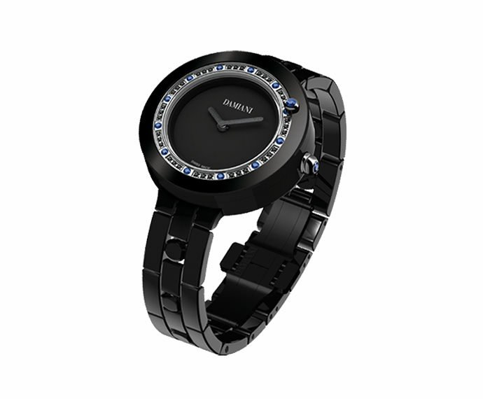Damiani - Black ceramic with diamonds and sapphires watch