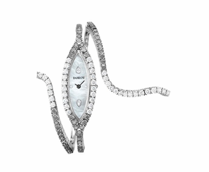 Damiani - White gold with white and black diamonds watch