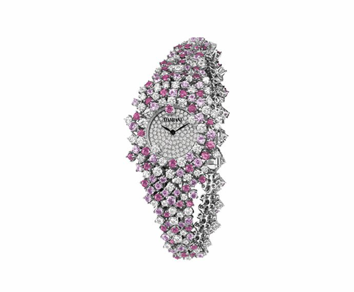 DAMIANI - Watch in white gold with diamonds and pink sapphires bracelet