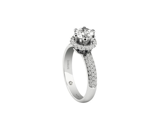 Damiani - White gold or platinum solitaire ring full pavé