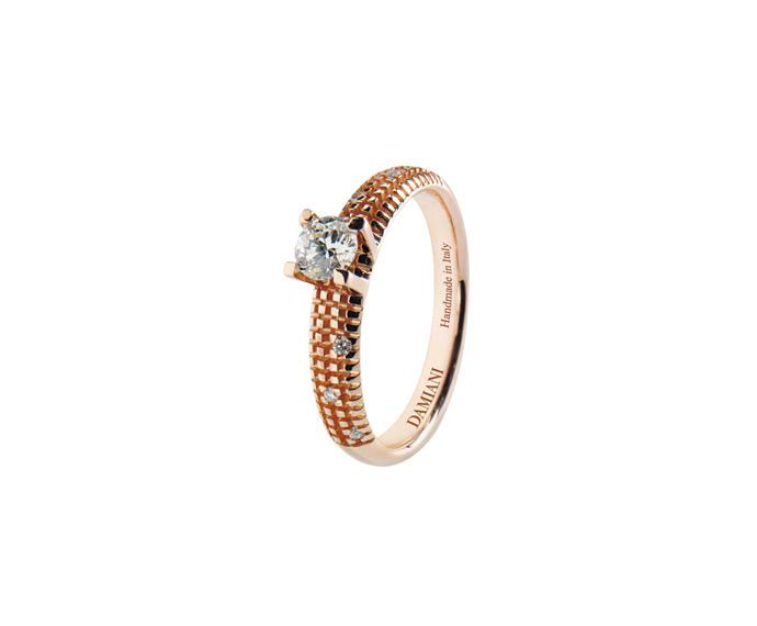 - Pink gold with diamonds solitaire ring