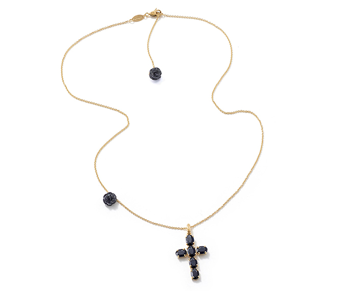 DOLCE&GABBANA - Yellow gold necklace with heart pendant with black sapphires and pearl