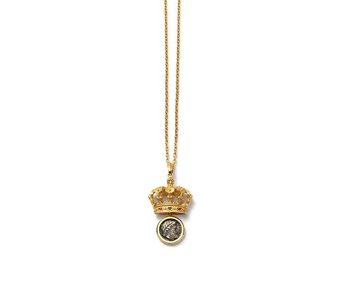 DOLCE&GABBANA - Yellow gold necklace pendant with rubies and blue sapphires