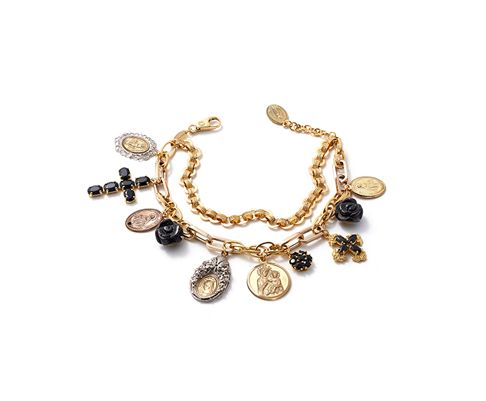DOLCE&GABBANA - Yellow, white, red gold bracelet with pendants with black sapphires and black jade