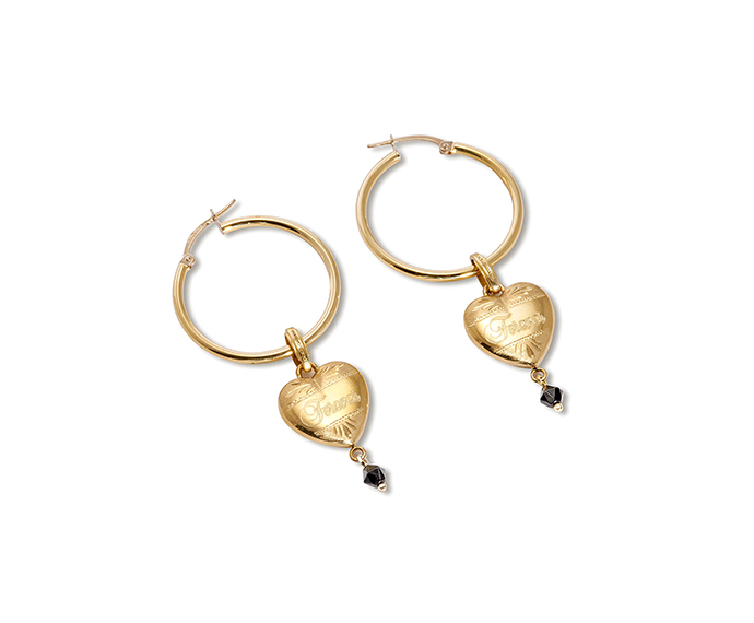 DOLCE&GABBANA - Yellow gold earrings with heart pendants with black flowers