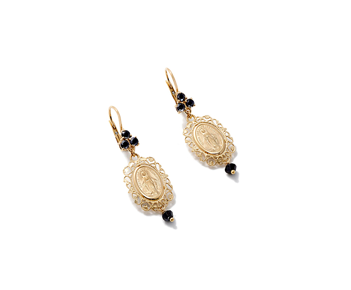 DOLCE&GABBANA - Drop earrings with yellow gold medal with black sapphires and black jade