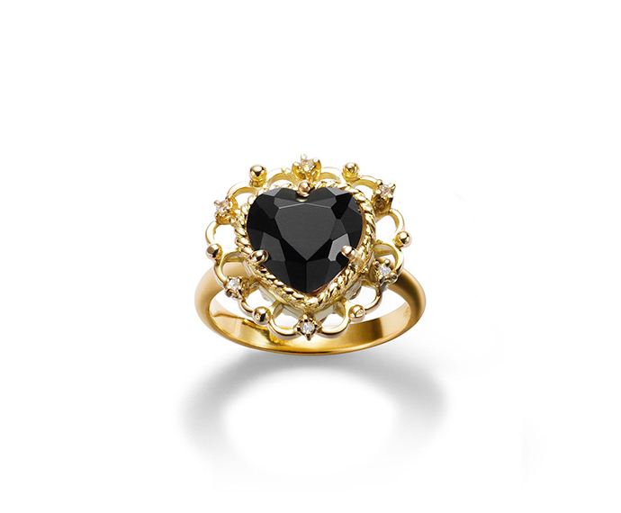 DOLCE&GABBANA - Yellow gold ring with black heart-shaped sapphire