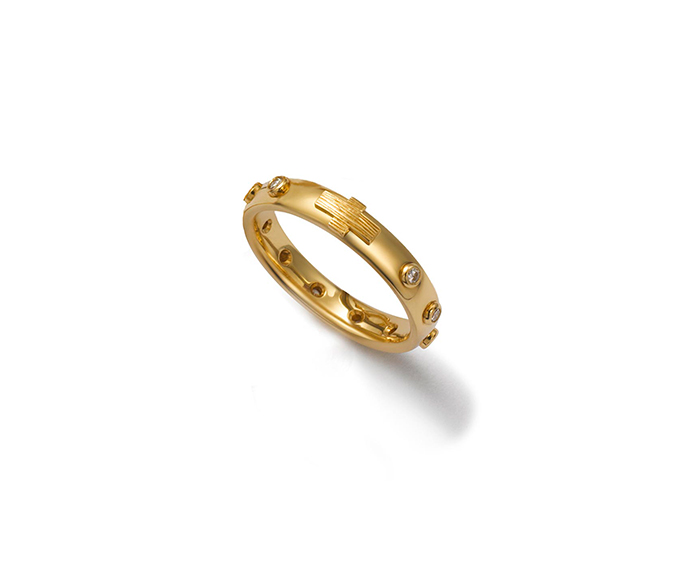 DOLCE&GABBANA - Yellow gold wedding ring with colorless diamonds