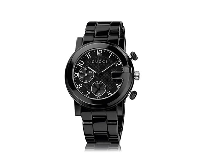 GUCCI - Steel and black ceramic G-Chrono