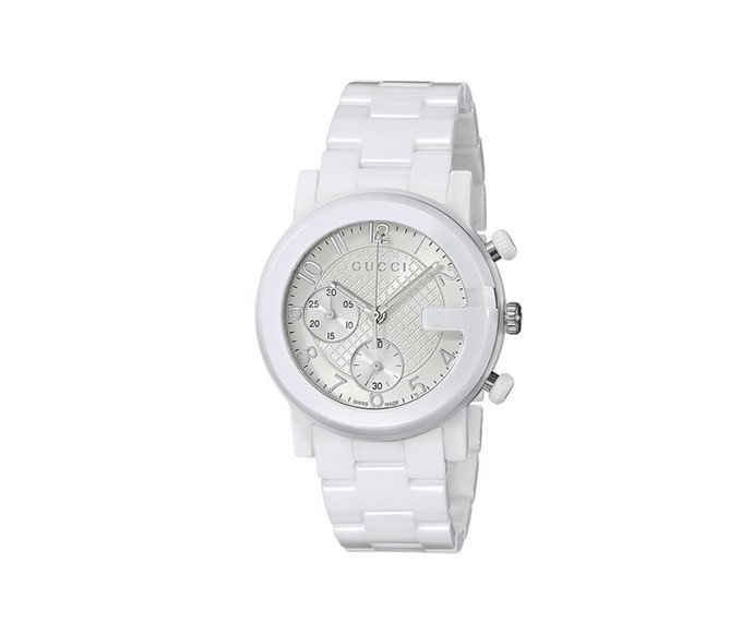 GUCCI - Steel and white ceramic G-Chrono