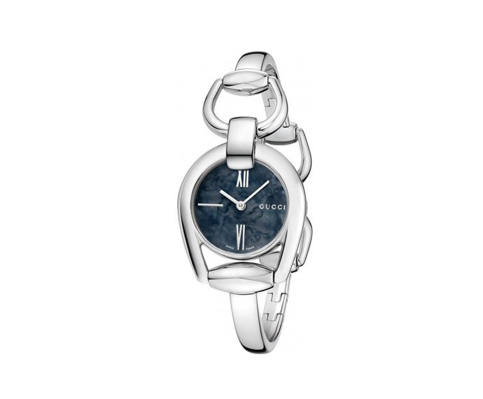 GUCCI - Small Horsebit in steel, bracelet with jewelry clasp and black mother-of-pearl dial
