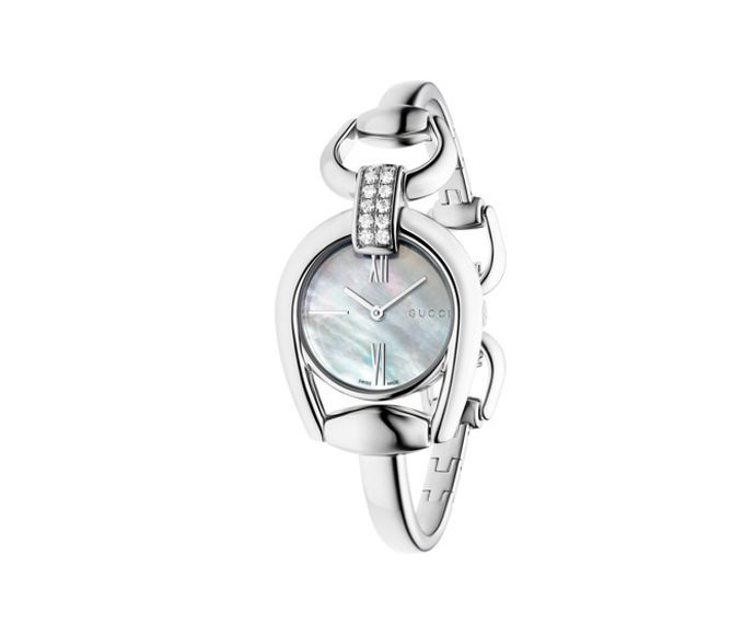 GUCCI - Small Horsebit in steel, bracelet with jewelry clasp and white mother-of-pearl dial