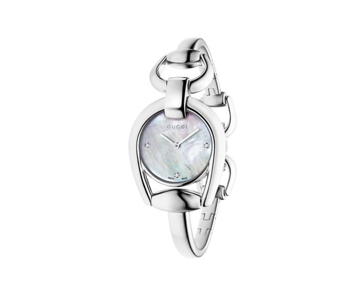 GUCCI - Small Horsebit in steel, bracelet with jewelry clasp and white mother-of-pearl dial with three diamonds