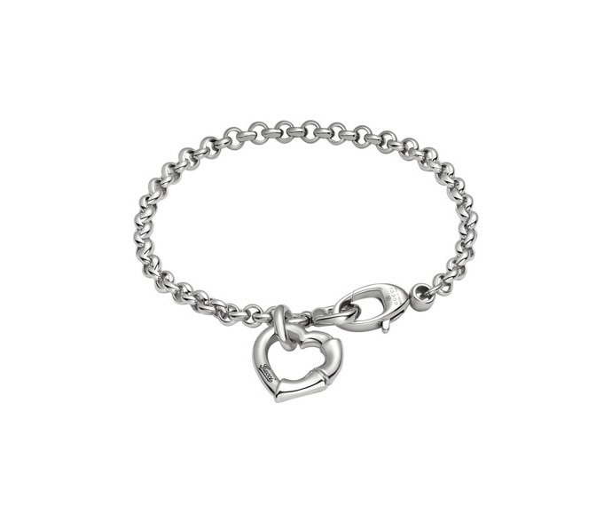 GUCCI - Bracelet in silver 925 rhodium-plated with heart pendant