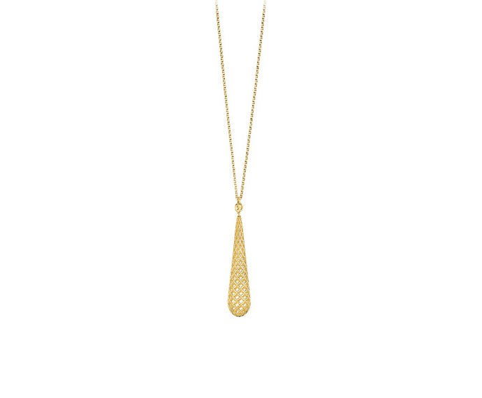 Gucci - Necklace in yellow gold 18 K with drop pendant and diamond pattern