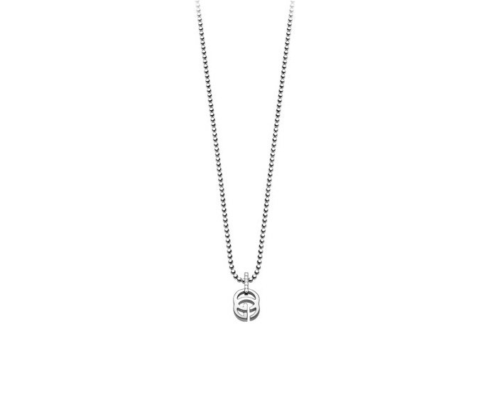 GUCCI - Necklace in white gold 18 K and diamonds (tot. 0.02 K) and pendant with Running G detail