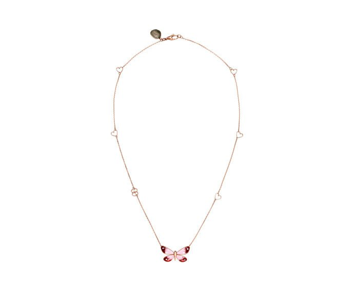 GUCCI - Necklace in pink gold 18 K, enamel and ruby