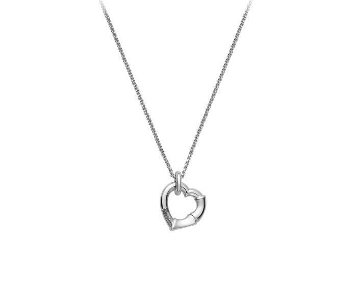 GUCCI - Necklace in silver 925 rhodium-plated with heart pendant