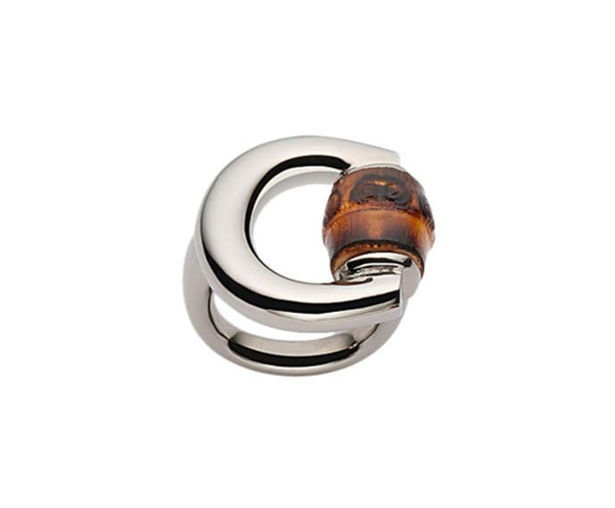 GUCCI - Ring with horsebit in silver with antiqued shiny finish in palladium and bamboo