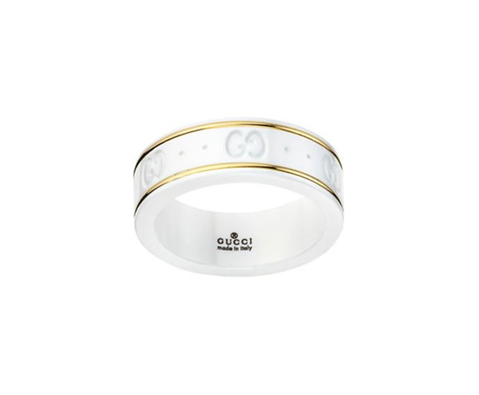 GUCCI - Ring small model in yellow gold 18 K e white zirconium powder