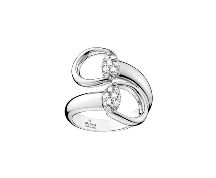 Gucci - Ring in white gold 18 K with diamonds, tot. 0.44 K