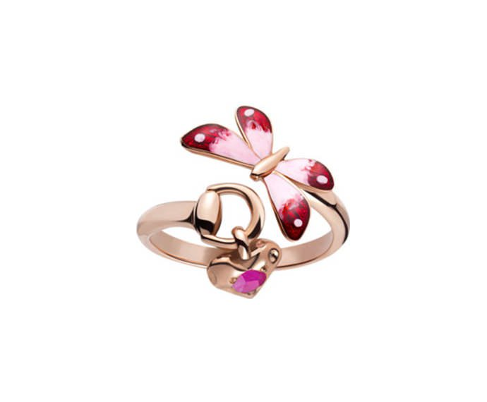 Gucci - Ring in pink gold 18 K, enamel and ruby