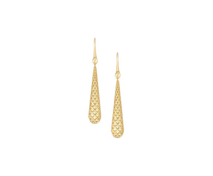 Gucci - Earrings in yellow gold 18 K with drop pendant and diamond pattern