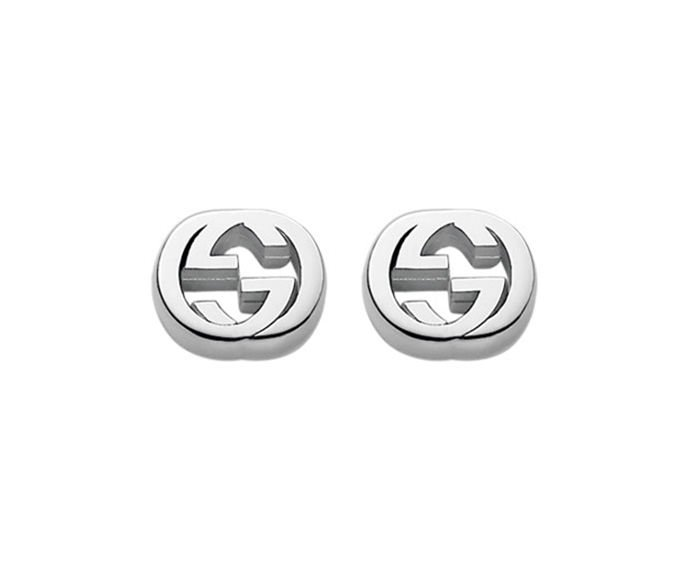 GUCCI - Earrings in silver 925, rhodium plated finish with interlaced double G