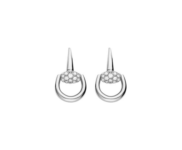GUCCI - Earrings in white gold 18 K with diamonds, tot. 0.85 K