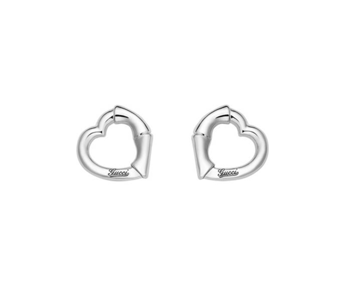 GUCCI - Earrings in silver 925 rhodium-plated with heart shape